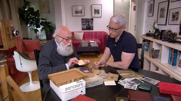 Adolfo Kaminsky and Anderson Cooper in Kaminsky's Paris apartment, April 2017. Photo © CBS News.
